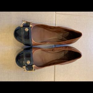 Tory Burch Flats, Navy Toe and Brown Leather